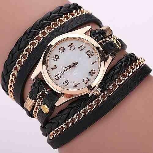 c3fd97d1834 Relógios Feminino Dourado Coruja Luxo Couro Retro Casual . - R  15 ...