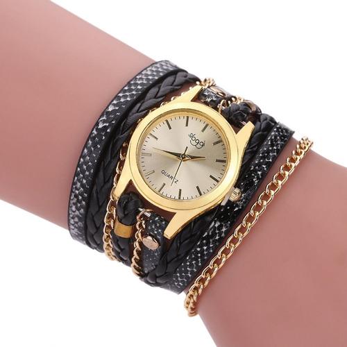 relógios feminino pulseira de couro pu com corrente