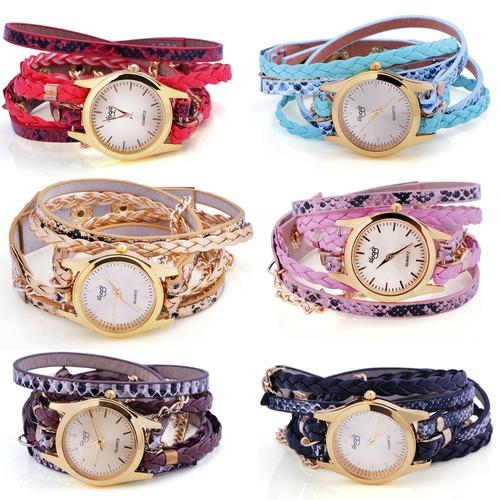 relógios feminino pulseira em couro pu com corrente
