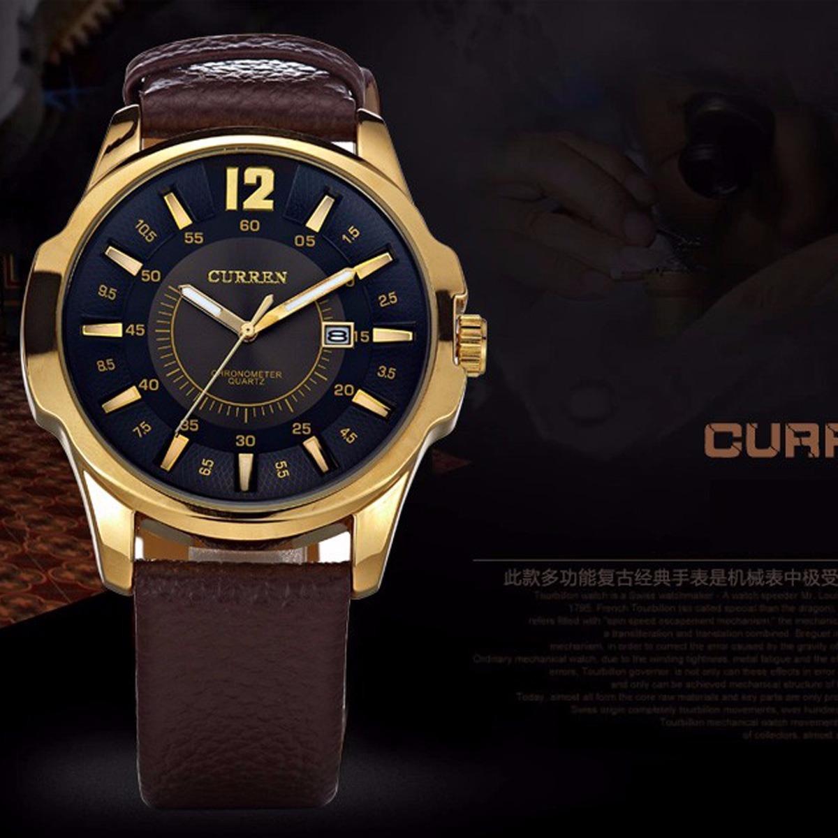 5d7d52d37ff relógios masculino curren luxo barato pulseira de couro. Carregando zoom.