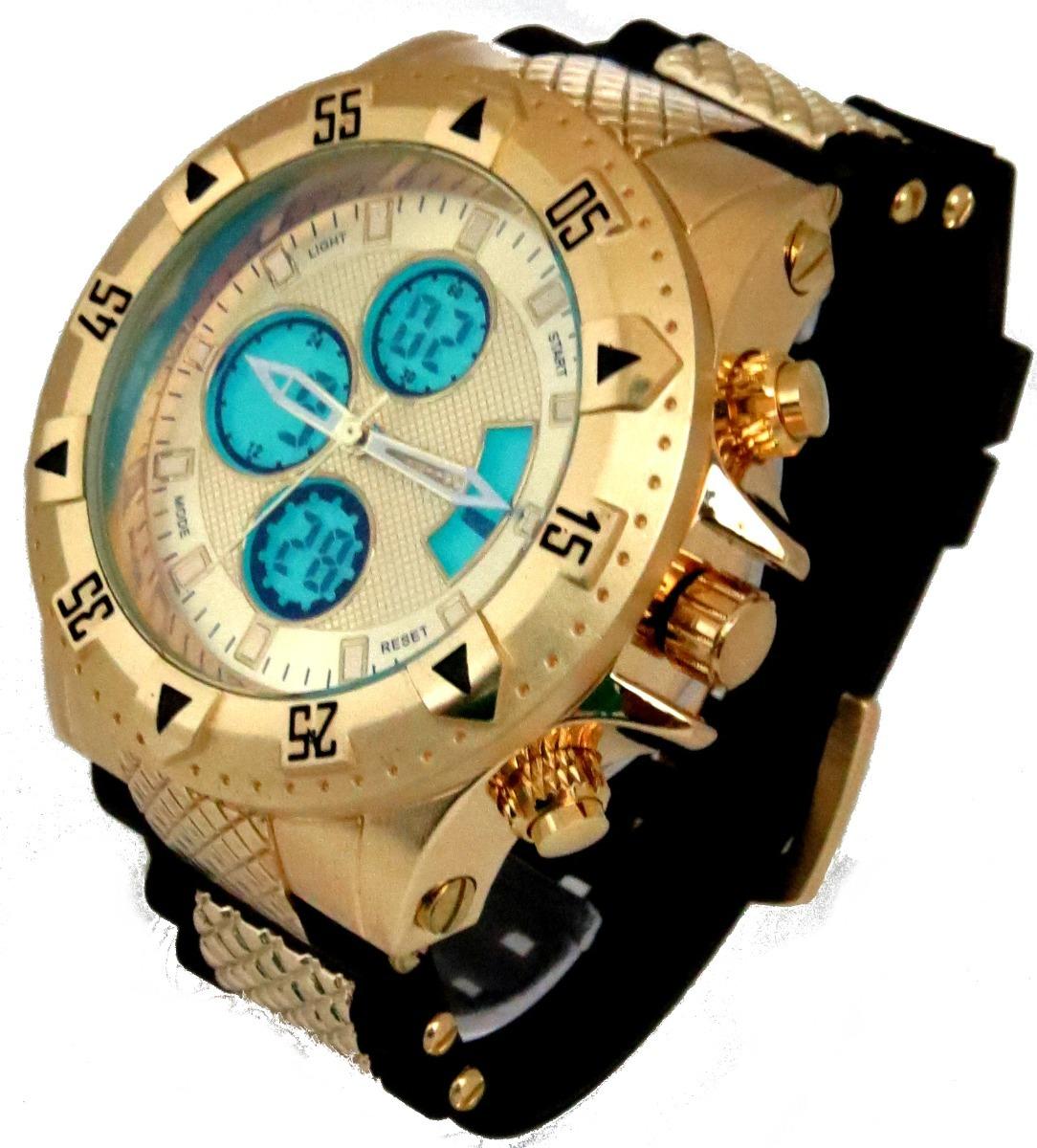 bf260f62c53 relógios masculino dourado grande todo funcional na caixa. Carregando zoom.