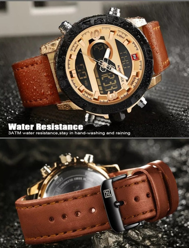 relógios masculino naviforce 9097 em couro original c\ caixa