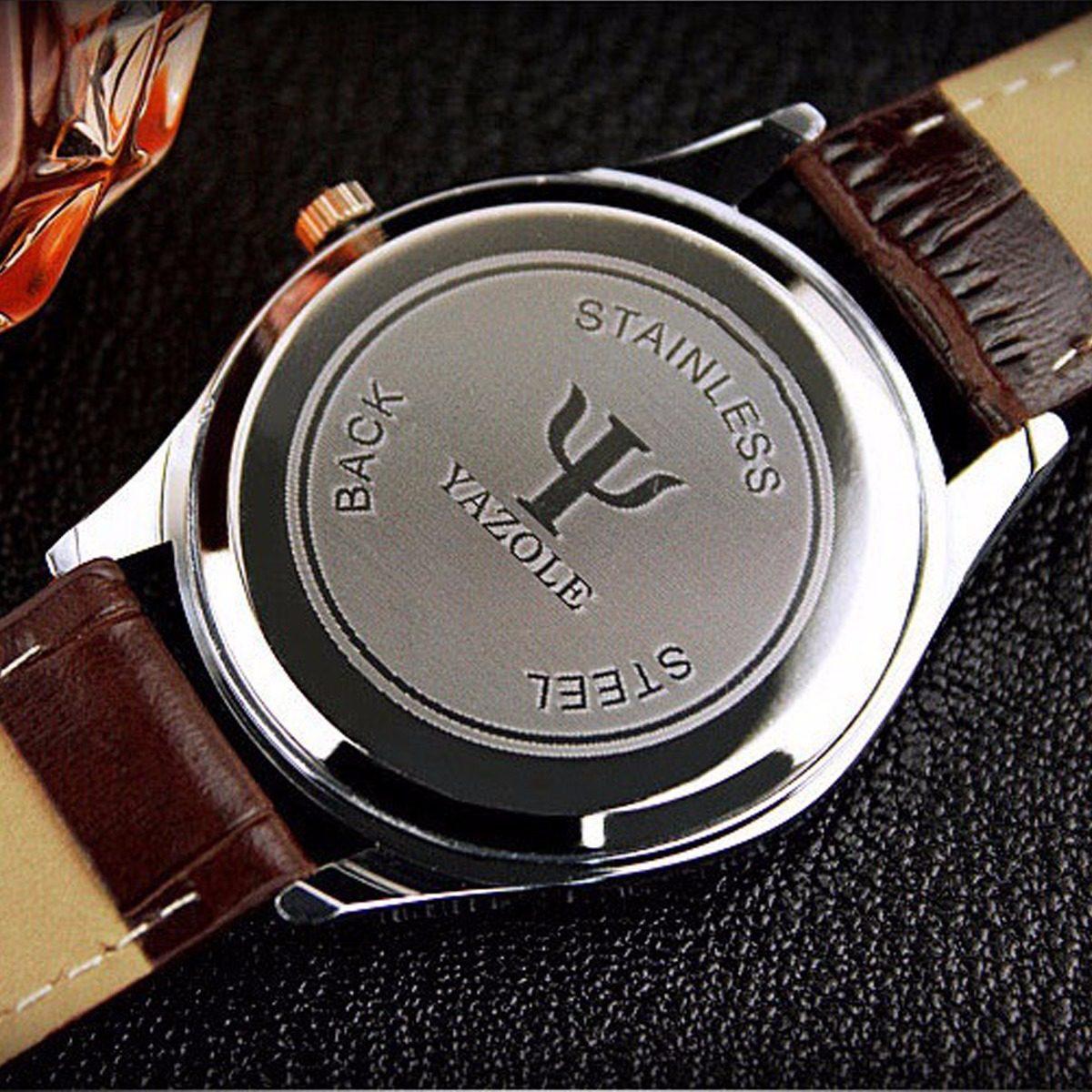 a30d89069e8 relógios masculino preto pulseira couro yazole feminino n5. Carregando zoom.