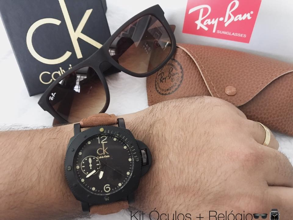 relógios masculinos ck + óculos rayban - kit masculino. Carregando zoom. 84f60a2b26