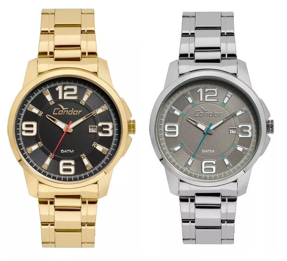 6c4a75d78e8 relógios masculinos condor prata + dourado - escolha seu kit. Carregando  zoom.