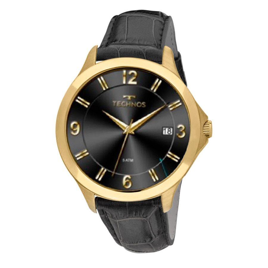 e7662e058ca relógios masculinos dourado technos 1s13ce 2p pulseira couro. Carregando  zoom.