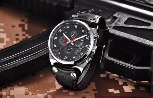 relógios masculinos em promoção benyar cronógrafo funcional couro original