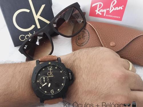 relógios masculinos + óculos - a prova d'água.