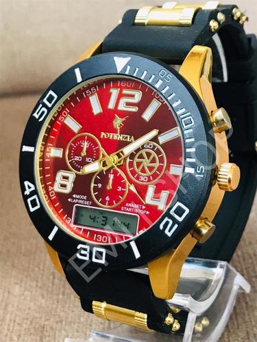 relógios masculinos potenzia + caixa+ *brinde* (pulseira)