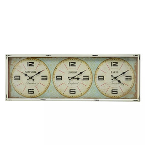 d7efc77e645 Relógio De Parede Com Horario Mundial Digital no Mercado Livre Brasil