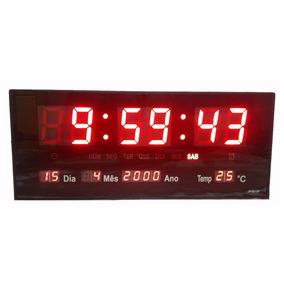 14068714044fe Relógio De Parede Led Digital Grande Termometro Recepção M