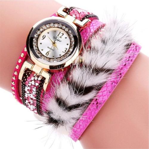 relógios pulseira feminino cabelo leopardo