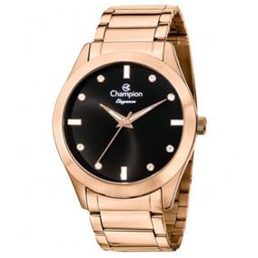 b49ae2b0f9df4 Relogio Champion Feminino Rose Com Fundo Preto - Relógios De Pulso ...