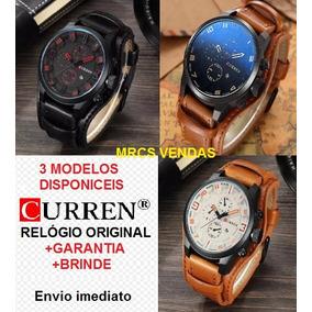 5e4f454371fa9 Relógio Curren Luxo + Brinde - Relógios De Pulso no Mercado Livre Brasil