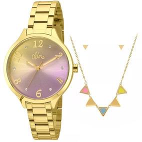 3166dcb990998 Kit Relogio Feminino Allora Dourado - Relógios De Pulso no Mercado ...