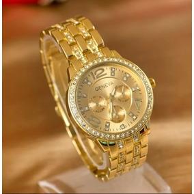 Relógio Dourado Com Strass + Pulseira Prata Estilo Pandora