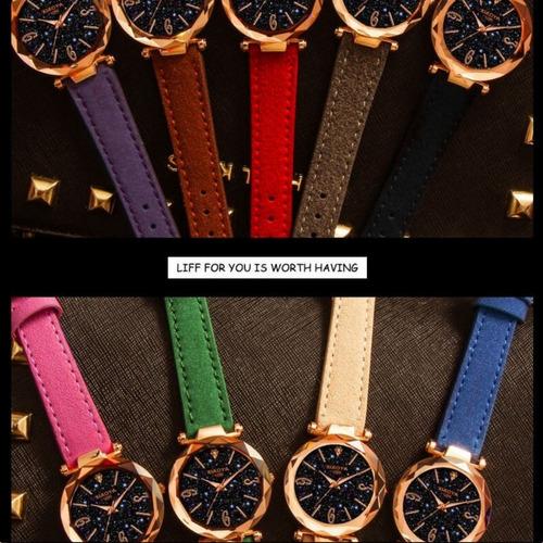relógios pulso feminino céu estrelado+bracelete+caixinha