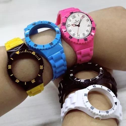 f3d7e000e3f relógios unissex champion cp30119x + 5 pulseiras colorida!! relógios  unissex champion