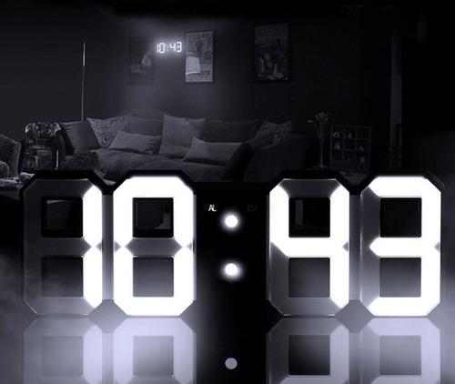 reloj 3d despertador led grande gigante usb base pared pila
