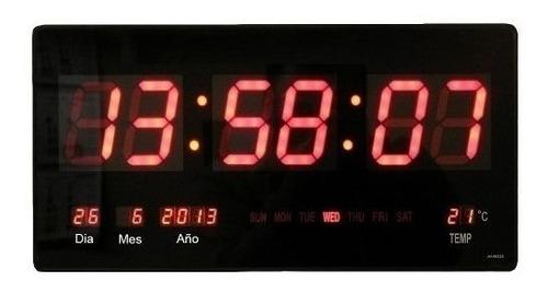 reloj 46 cm led digital, fecha, termómetro visibilidad 60m