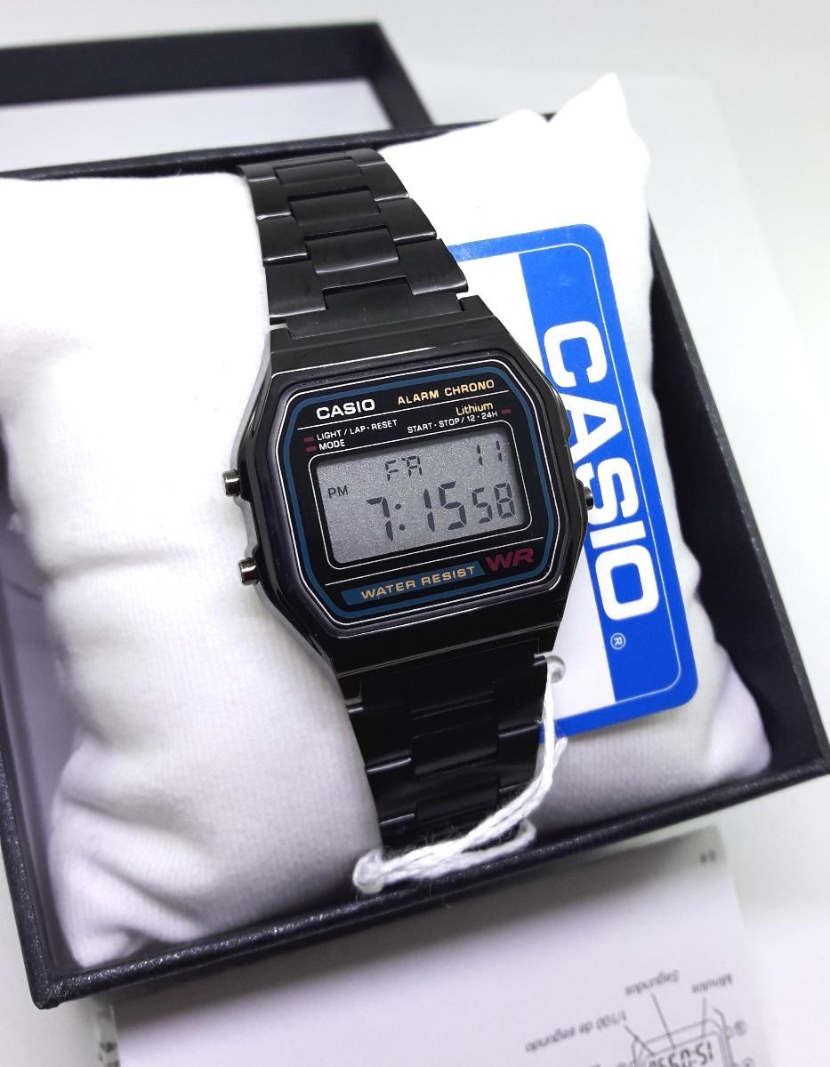 55549289e9f1 reloj a158 negro clasico retro vintage caja manual black. Cargando zoom.