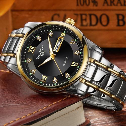 reloj acero inoxidable fechador caballero contra agua wls506