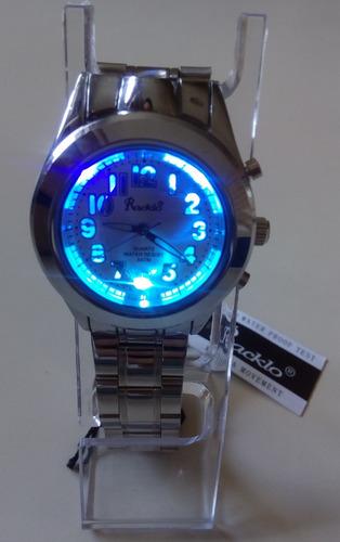 reloj acero racklo original iluminaitor 7 luces y linterna