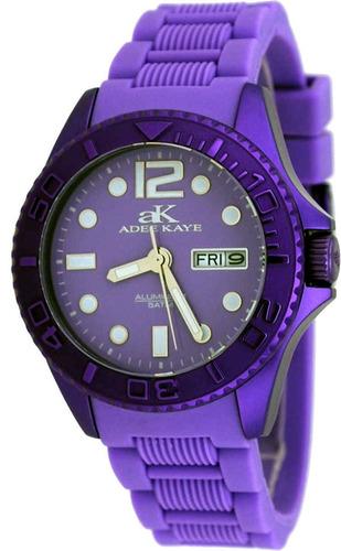reloj adee kaye ak5433-l women's purple aluminum day date