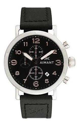 reloj aimant de plata para hombre con correa de cuero negro