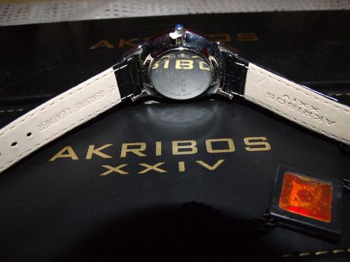 reloj akribos / damas / diamantes / piel / envio gratis sp0
