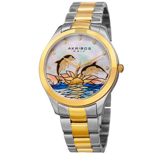 reloj akribos xxiv acero inox dos tonos mujer ak953dttg