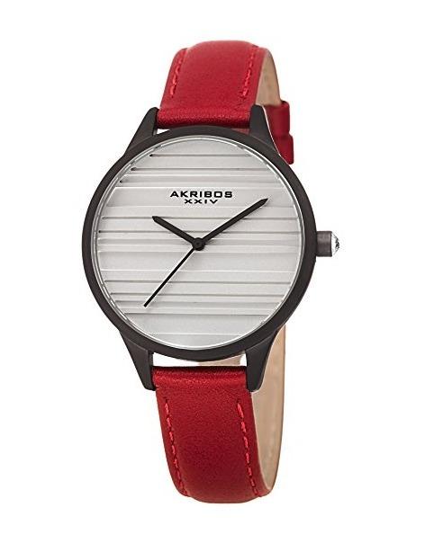 283891eeccfb Reloj Akribos Xxiv Cuarzo Acero Piel Rojo Mujer Ak1005rd ...
