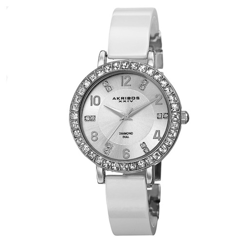 reloj akribos xxiv diamond acero ceramica mujer ak758ssw