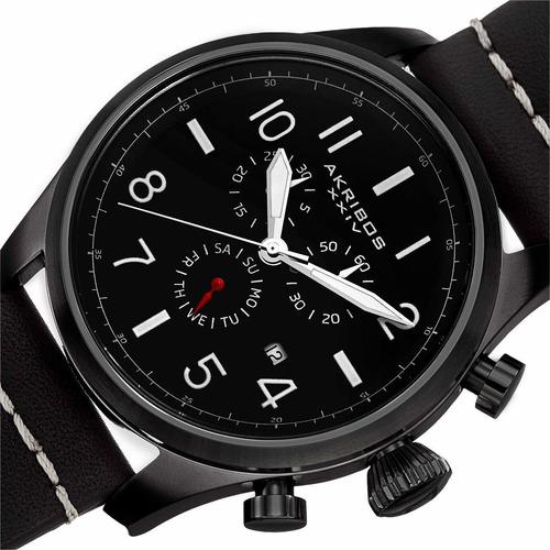 reloj akribos xxiv para hombre ak705bk pulso en cuero con