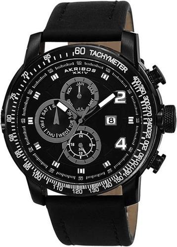 reloj akribos xxiv para hombre ak743bk pulso en cuero color