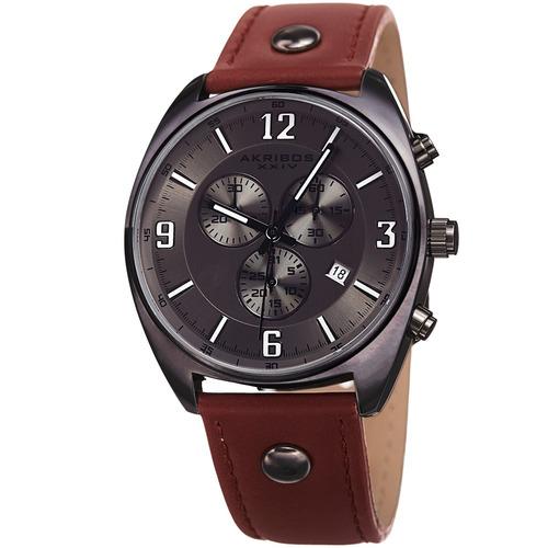 reloj akribos xxiv para hombre ak969gn pulso en cuero con