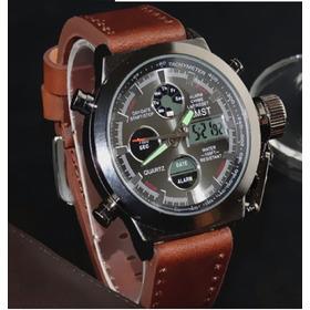 Reloj Amst Militar De Buceo 50 M Correa De Cuero Hombre P8