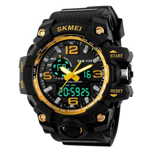 reloj ana-digi hombre skmei 1155 cronómetro alarma luz sumergible