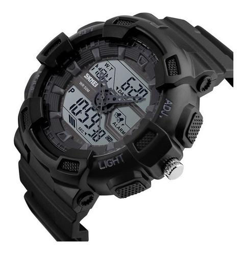 reloj ana-digi skmei 1189 negro crono alarma luz wr50m gtia