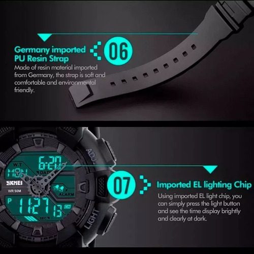 reloj analogico digital skmei cronometro alarma deportivo