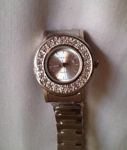 reloj analógico finart maquinaria quartz plateado mujer