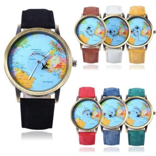 reloj analogo mapa mundi diseño unico