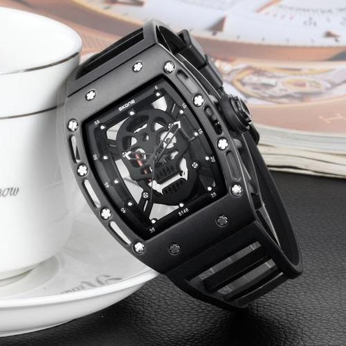 reloj análogo sport calavera hollow skone (negro) importado