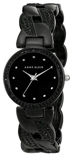 reloj anne klein swarovski crystal negro mujer ak/1833bkbk