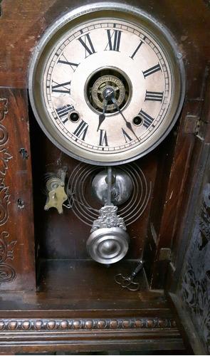 reloj  antiguo, de pared marca ansonia americano. tallada