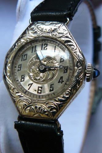 reloj antiguo oro solido 14k clermont w. suizo cuerda 1920
