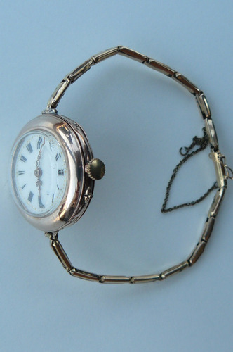 reloj antiguo oro solido y pulsera oro 14k  5 diamantes 1920