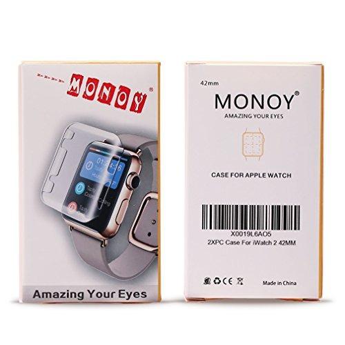reloj apple serie 2 42mm, monoy 2-pack (clear + grey) nuevo