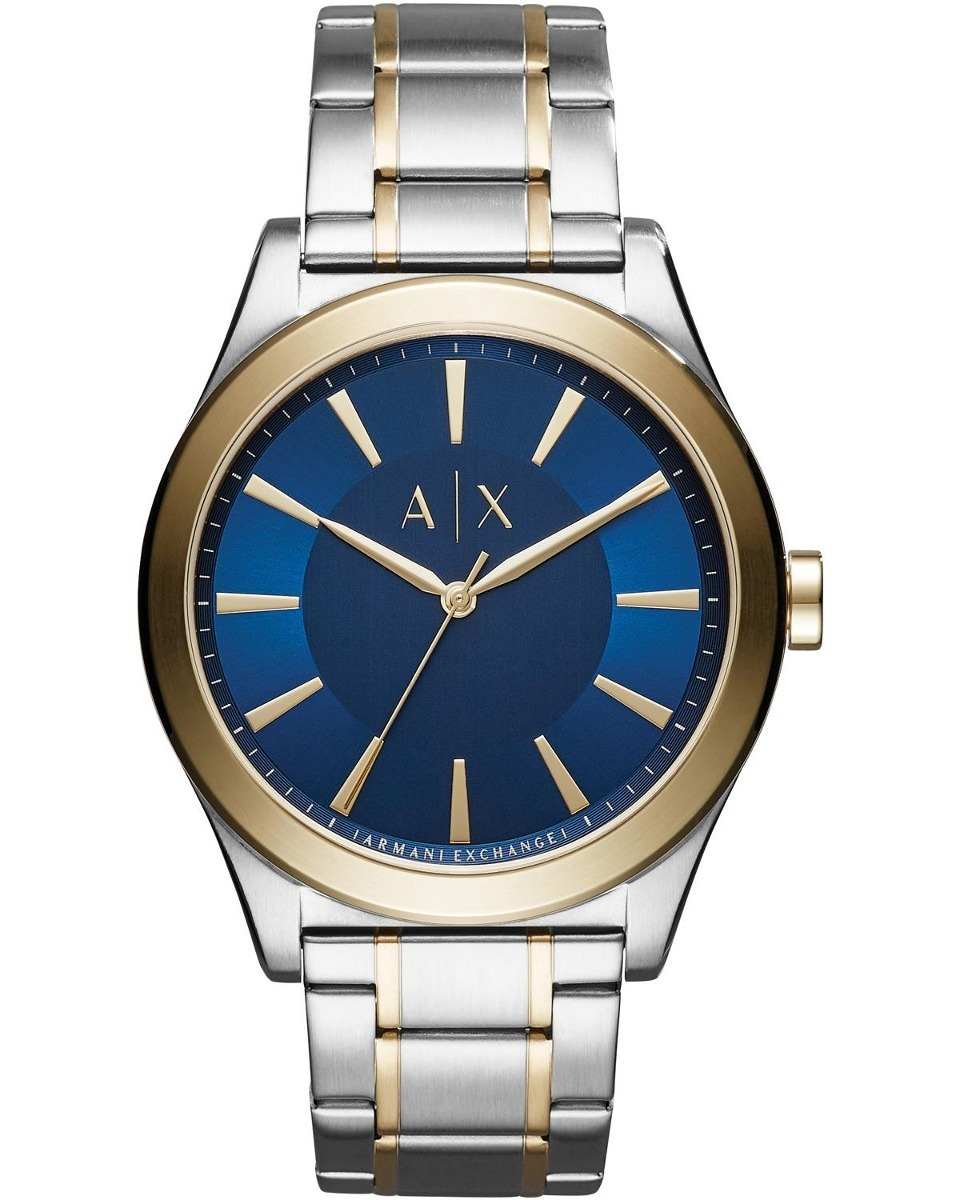 a6c797ee5986 Reloj Armani Exchange Ax2332 Acero Inox Plata oro Bisel Azul ...