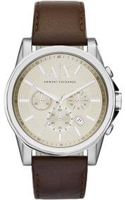 Reloj Armani Exchange Ax2506 Chrono Piel Genuina Café Hombre
